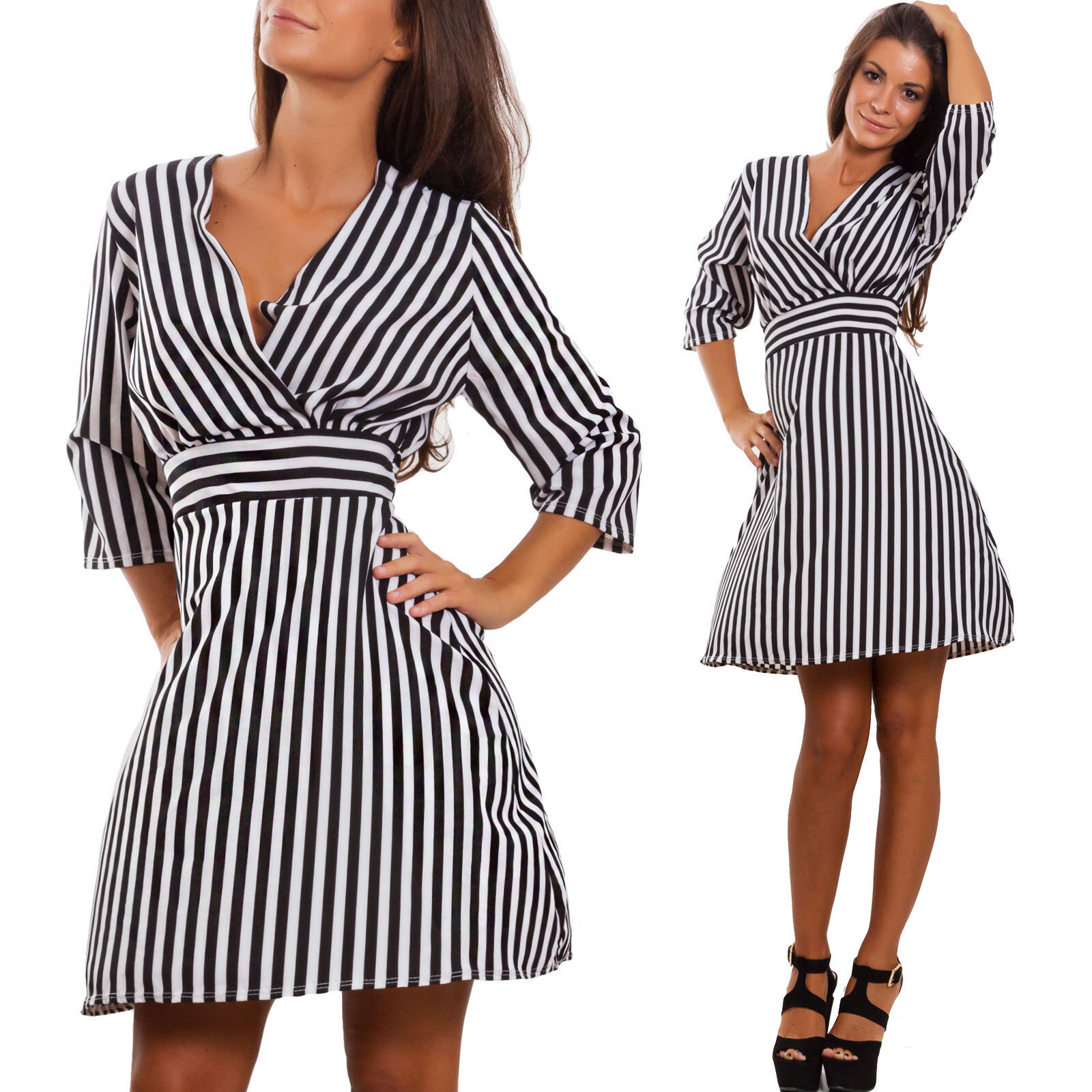 Vestito donna mini abito midi optical righe elegante scollato sexy ... bcd58f19950