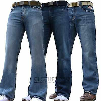 BNWT NEW MENS WIDE LEG BOOTCUT FLARED BLUE HEAVY DENIM JEANS ALL WAIST SIZES
