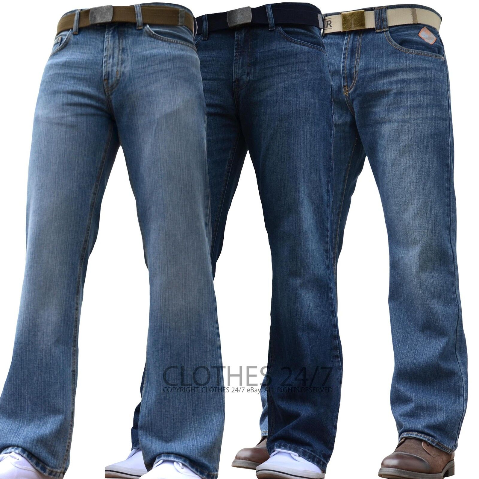 BNWT NEW MENS WIDE LEG BOOTCUT FLARED BLUE HEAVY DENIM JEANS ALL WAIST & SIZES