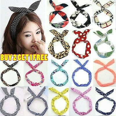 Vintage Rockabilly Wired Headband Retro Scarf Wire Hair Band Bunny Ears Bowknot