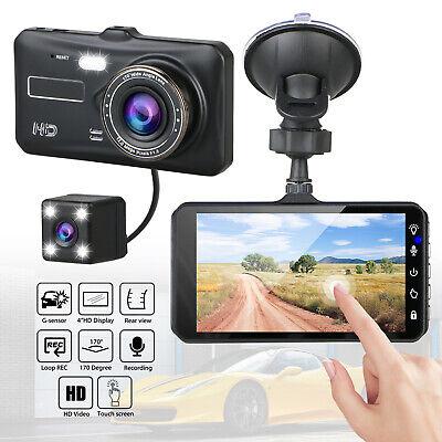 "4"" Touch Screen Car Camera Dual Dash Cam Front & Rear Night Vision G-sensor 170°"