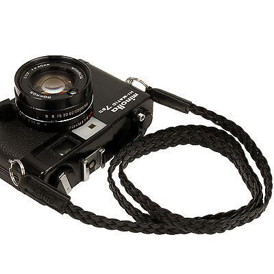 Black Leather Mesh 13mm Neck Shoulder Camera Strap for Film SLR DSLR RF Digital