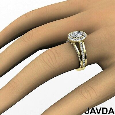Oval Diamond Halo Pre-Set Bridal Engagement Ring GIA E VVS1 18k White Gold 1.4Ct 7