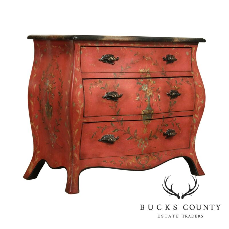 Italian Hand Painted Bombe Chest of Drawers, Commode by Patina
