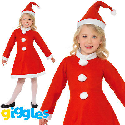 Girls Little Miss Santa Claus Christmas Smiffys Fancy Dress Costume Outfit & Hat](Miss Santa Claus Outfit)