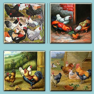 Set of 4 Ceramic tile magnet refrigerator Rooster Hens and Chickens  #001