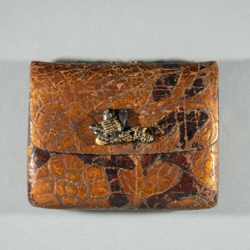 19th Century sagemono pouch, metal samurai clasp. Free global shipping.