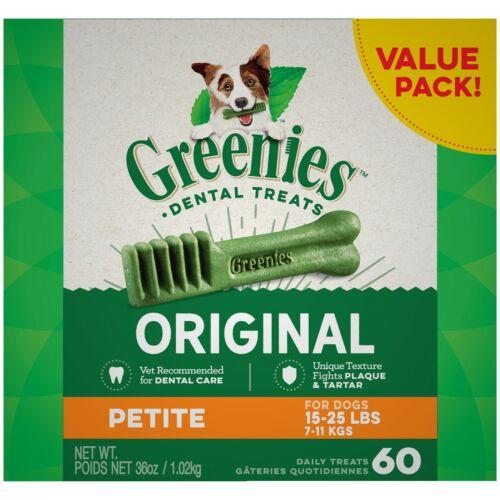 Greenies Original Petite Natural Dental Dog Treats, 36 oz. Pack (60 Count) NEW !
