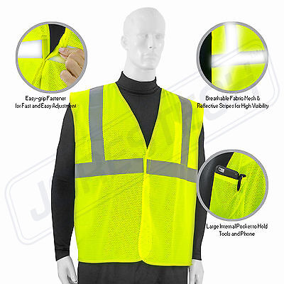 Safety Vest Ansi Class 2 Reflective Tape High Visibility Yellow Jorestech