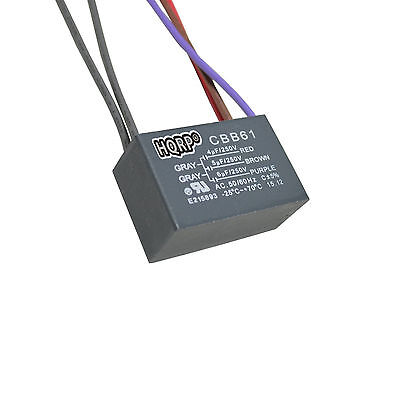 HQRP Capacitor for Harbor Breeze Ceiling Fan 4uf+5uf+6uf 5-Wire, CBB61