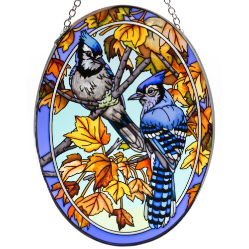 """Blue Jays In Maple Leaves Hand Painted Glass Suncatcher By AMIA Studios 7"""" x 5"""""""