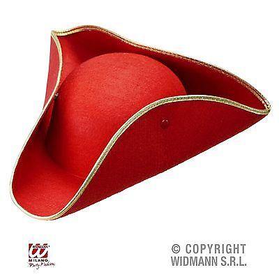 Venezianischer Dreispitz Hut rot mit Goldborte Karneval Maskenball - Rot Mit Gold Maske