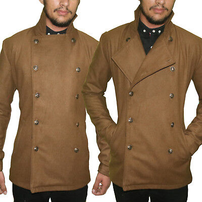 - Men's Classic Wool Blend Double Breasted Marine Pea Coat