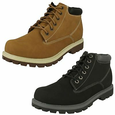 Mens Skechers Rounded Toe Casual Everyday Lace Up Synthetic Ankle Boots Amado