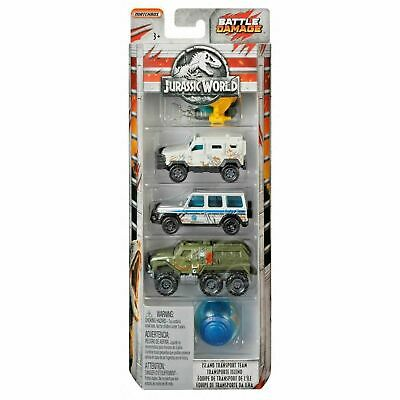 Jurassic World Battle Damage Die Cast Set Of 5 Vehicles - Matchbox
