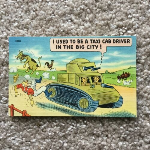 "WW2> ""I Used to be a Taxi Cab Driver in the Big City!"" - Army Cartoon POSTCARD"