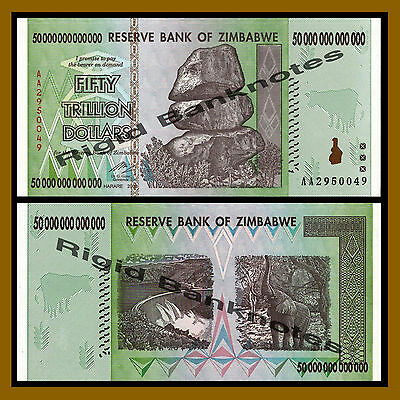 Zimbabwe 50 Trillion Dollars, 2008 AA Unc, 10 & 100 Trillion Series