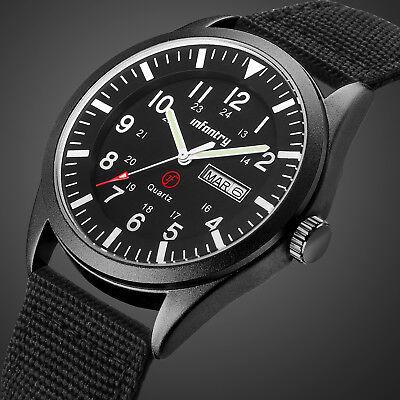 INFANTRY Herrenuhr Quarz Armbanduhr Sport Uhr Nylon Schwarz Outdoor Flieger