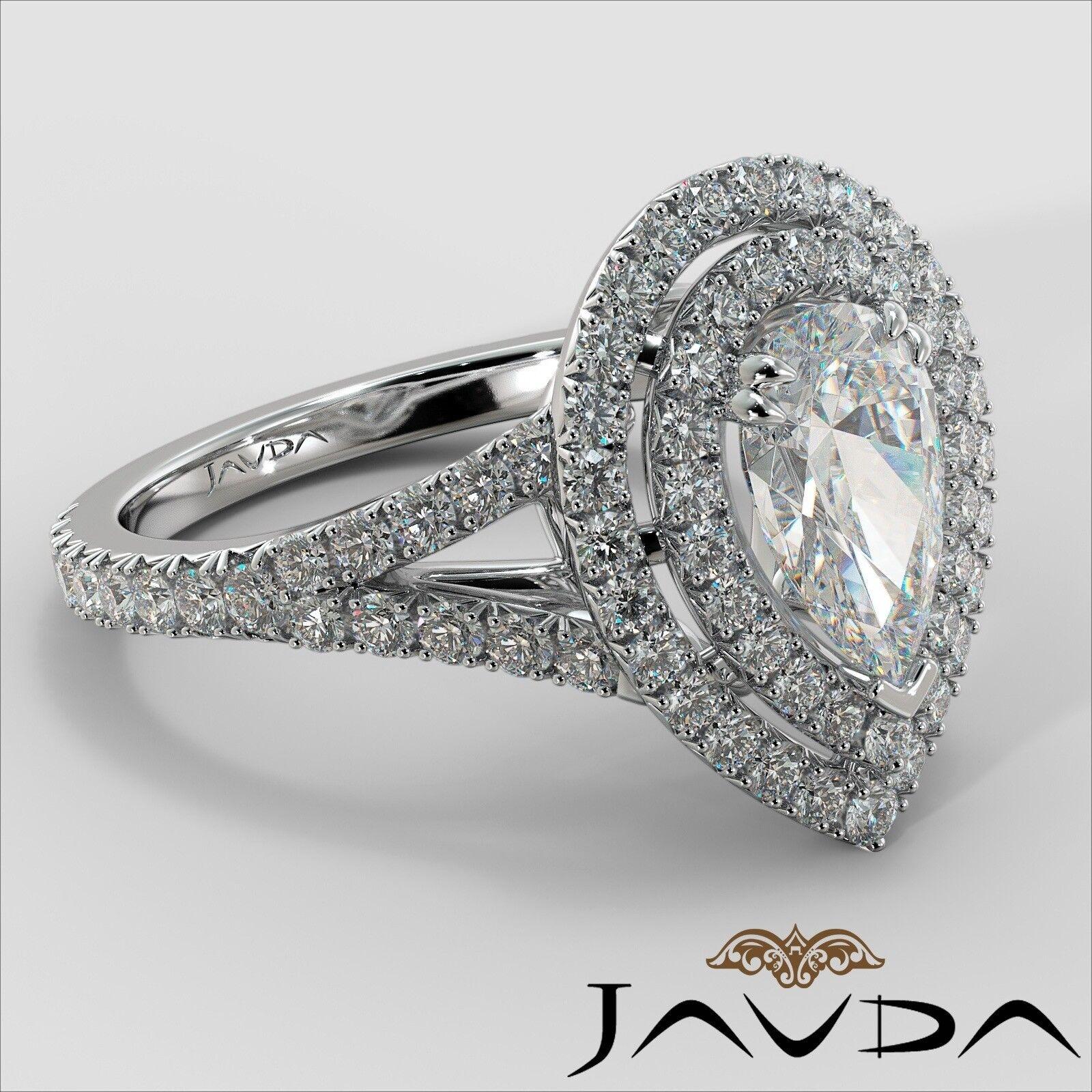 2.12ct Double Halo Split Shank Pear Diamond Engagement Ring GIA E-SI1 White Gold 2