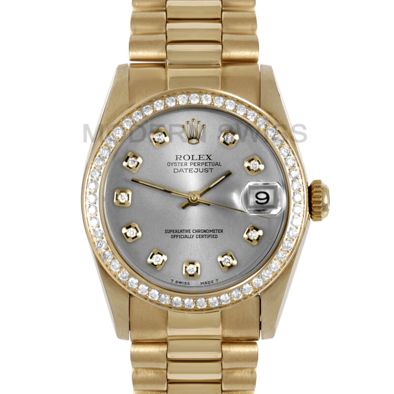 Rolex Ladies Midsize President 18k Yellow Gold Silver Diamond Dial & Bezel 31mm