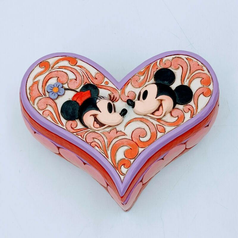 Walt Disney Showcase Jim Shore Love Keeper Heart Box Mickey and Minnie Mouse. N
