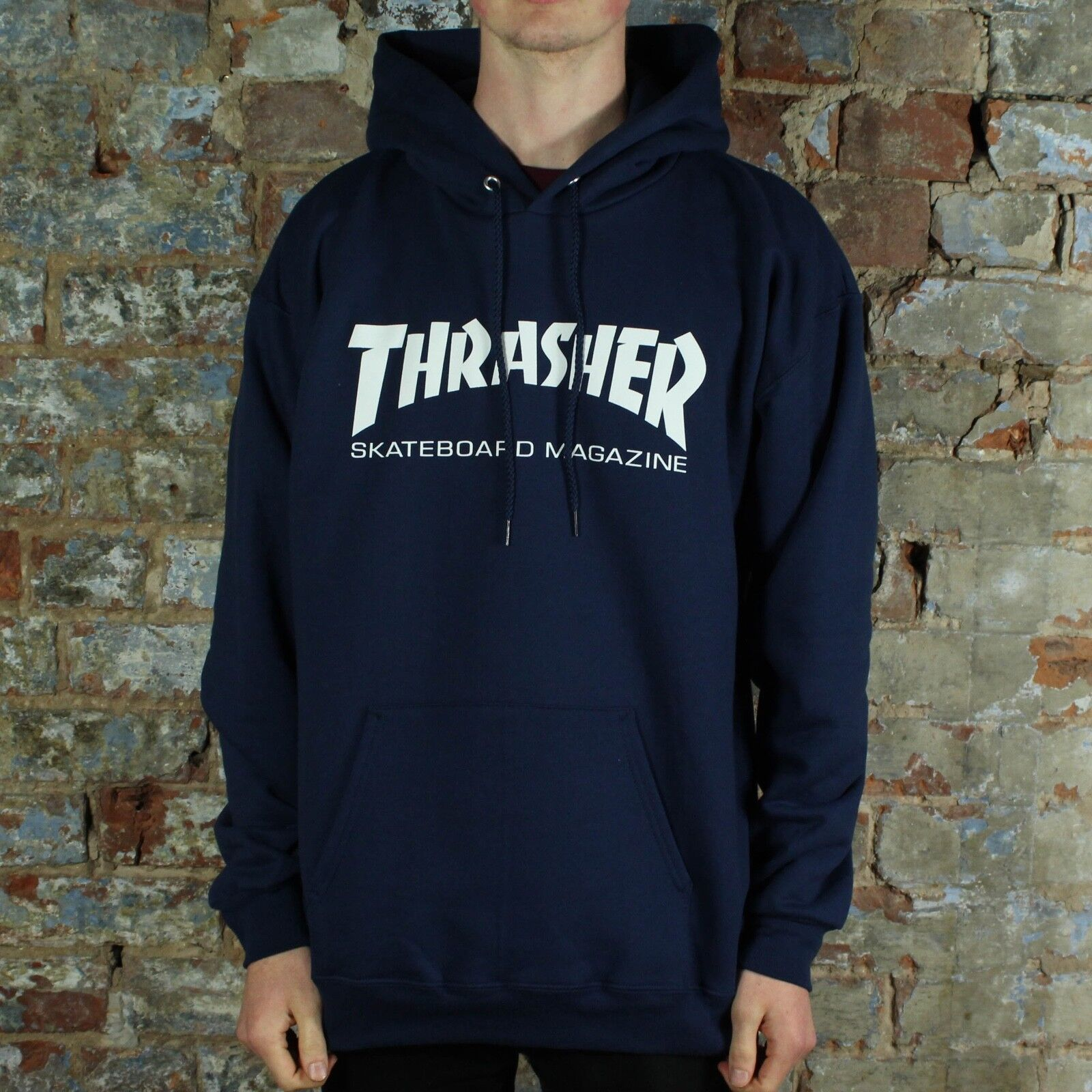 c7fe2f328820 Details about Thrasher Stock Skate Mag Logo Pullover Hooded Sweatshirt –  Navy in size S