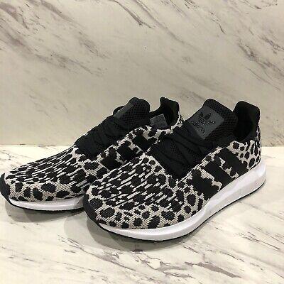 NEW Womens Adidas Swift Run Athletic Shoe Cheetah Leopard Carbon White Black 7.5