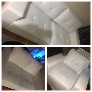 Modern white faux leather couches