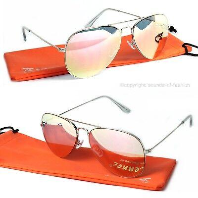 Rennec Piloten Sonnenbrille Silber Rosa Rose Retro Pilotenbrille Edelstahl Etui