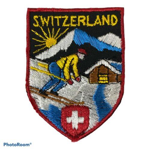 "Vintage Embroidered Patch Switzerland Skier Red Cross Travel Souvenir 2"" UNUSED"