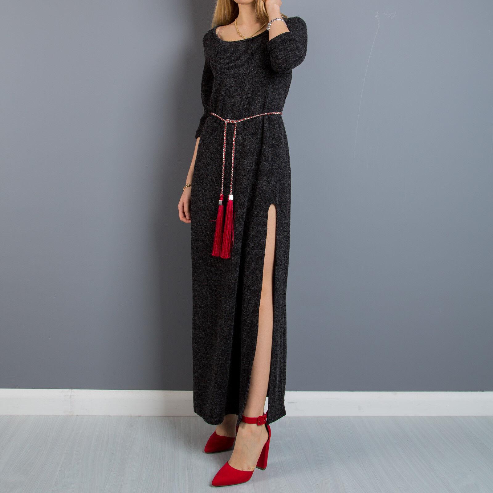 brand new 5dd1d 947d7 Abito vestito donna lungo spacco frontale aderente tubino ...