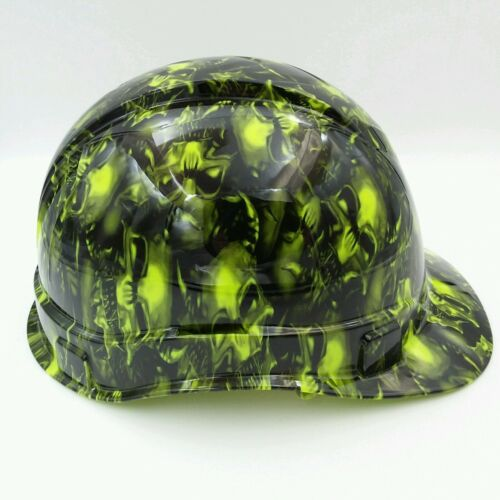 Hard Hat custom hydro dipped , OSHA approved TERMINATOR SKULLS LIME GREEN 2