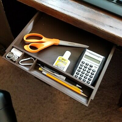 Under Desk Sliding Pencil Drawer Tray Organizer - Dark Brown