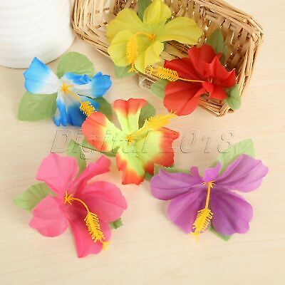 72pc Hibiscus Flowers Artificial Polyester Silk Flowers Hawaiian Party DIY Decor - Silk Hibiscus Flowers