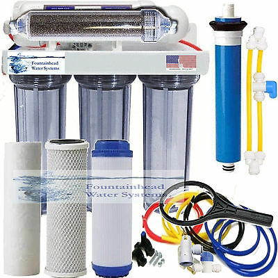 RO/DI Dual Outlet Drinking water/Aquarium Filter Core System Clear Housings 150G