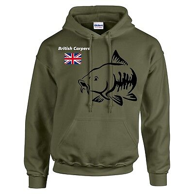 CARP FISHING CLOTHING,HOODIE ( COLOUR OLIVE )