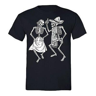 Mens 2 Dancing Skeletons Sugar Skull Day Dead Dia de Los Muertos Mexican T-Shirt