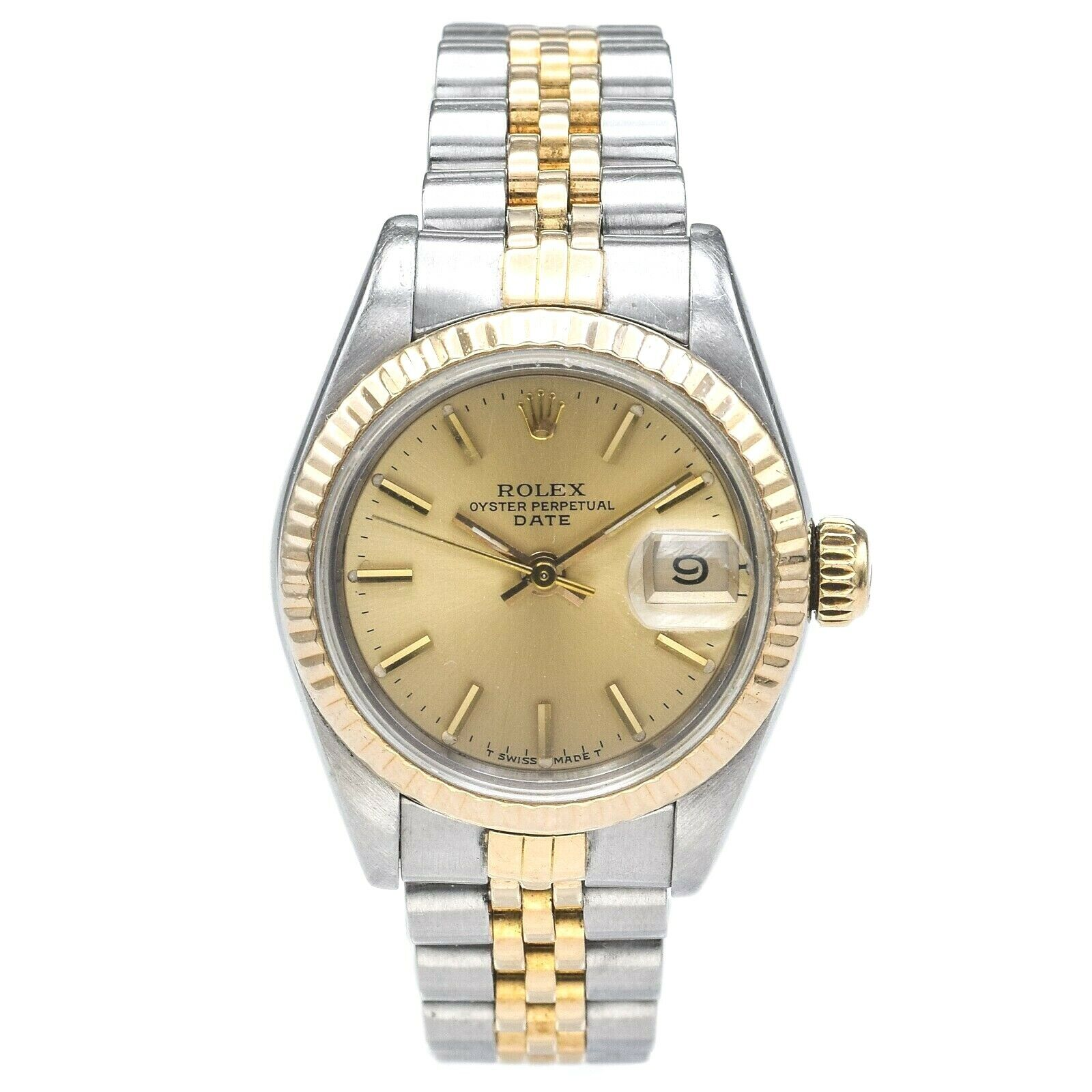 Vintage Rolex Lady Date Two Tone S/S 18K Gold Women's Watch Ref 69173 Cal 2130