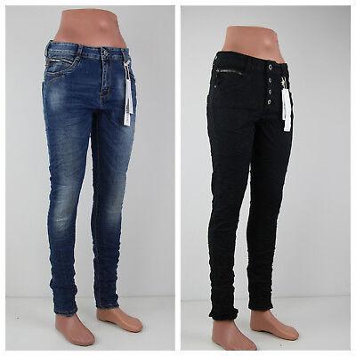 Jewelly Damen Baggy Jeans Reißverschluss Blau Schwarz Denim Neu Winter 2018/2019 Denim Baggy Jeans