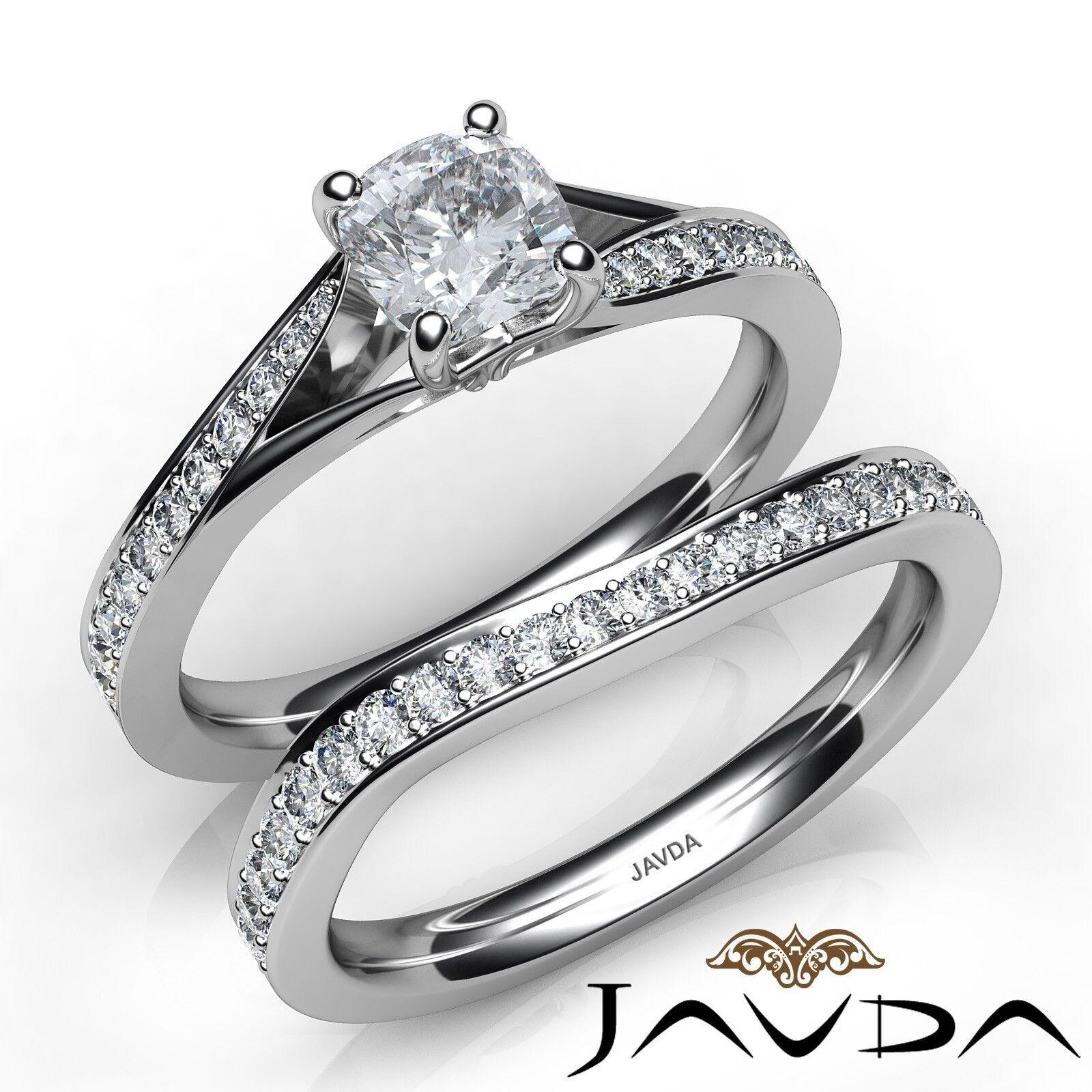 1.66ctw Classic Sidestone Bridal Set Cushion Diamond Engagement Ring GIA H-VS2