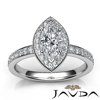 Cathedral Halo Pave Set Marquise Shape Diamond Engagement Ring GIA F VVS2 0.95Ct 3