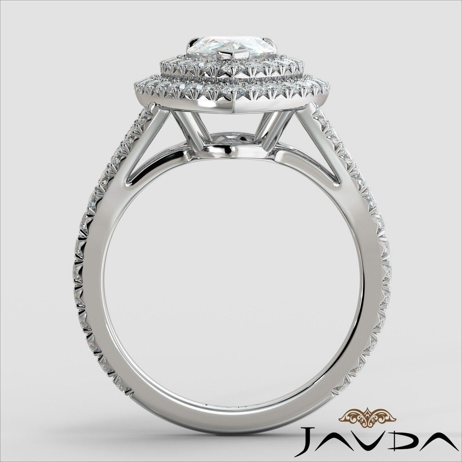 2.12ct Double Halo Split Shank Pear Diamond Engagement Ring GIA E-SI1 White Gold 3