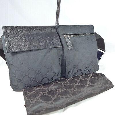 Authentic Vintage Gucci Black GG Canvas Waist Hip Belt Bum Bag Fanny Pack VGC