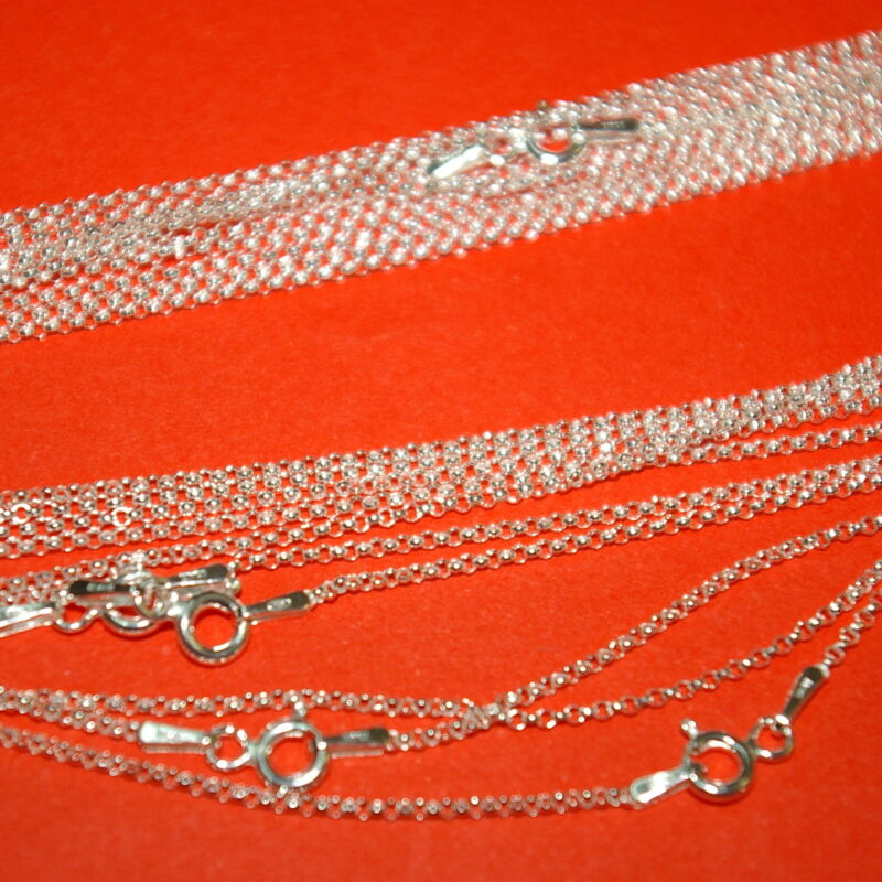 """10 pcs Sterling Silver 925 1.3mm Round ROLO BELCHER Chain NECKLACES 5x16"""" 5x18"""""""