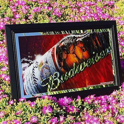 "Budweiser King Of Beer Bar Pub Man Cave Mirror  ""New"""
