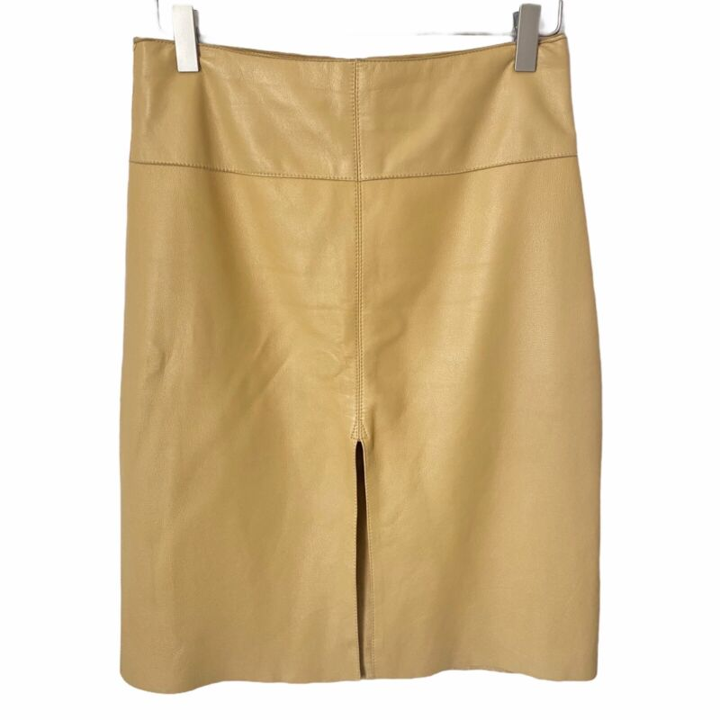 BEBE Leather Slit Front Flirty Skirt Soft Muted Yellow Women's Sz 4 Y2K 2000