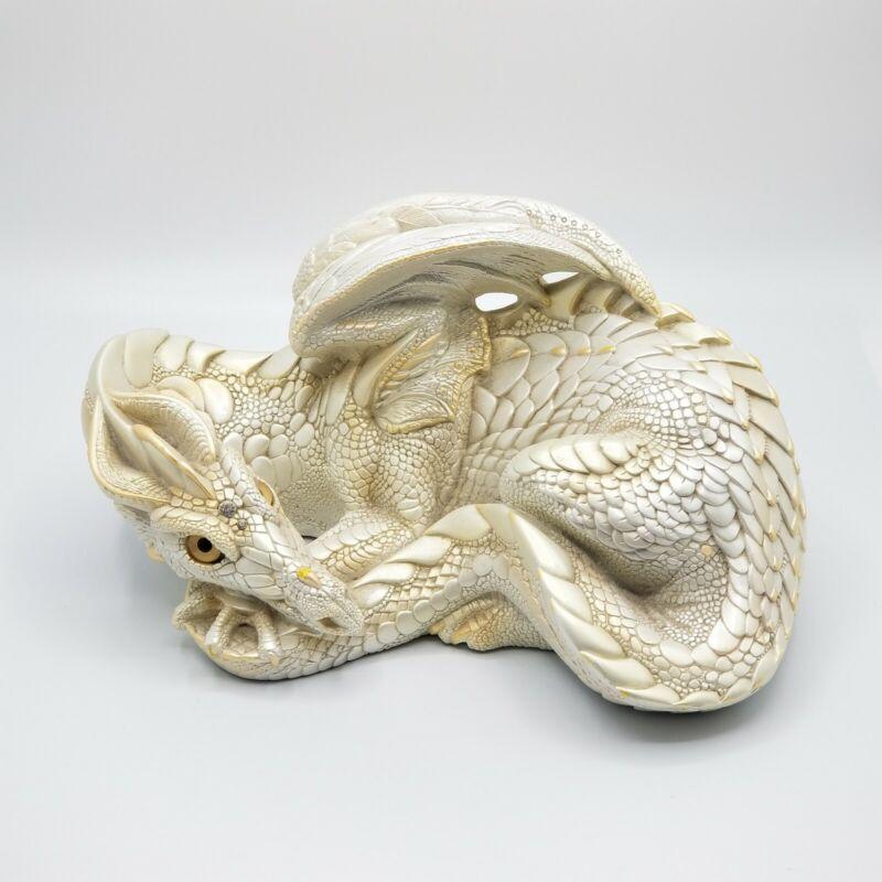 Lg Dragon Windstone Editions Mother Pearl Cream PENA 1985 Statue Figurine