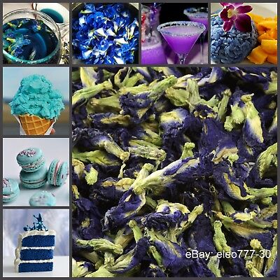 Thai Pure Natural Dried Butterfly Pea Tea, Blue Flowers Tea Healthy Drink
