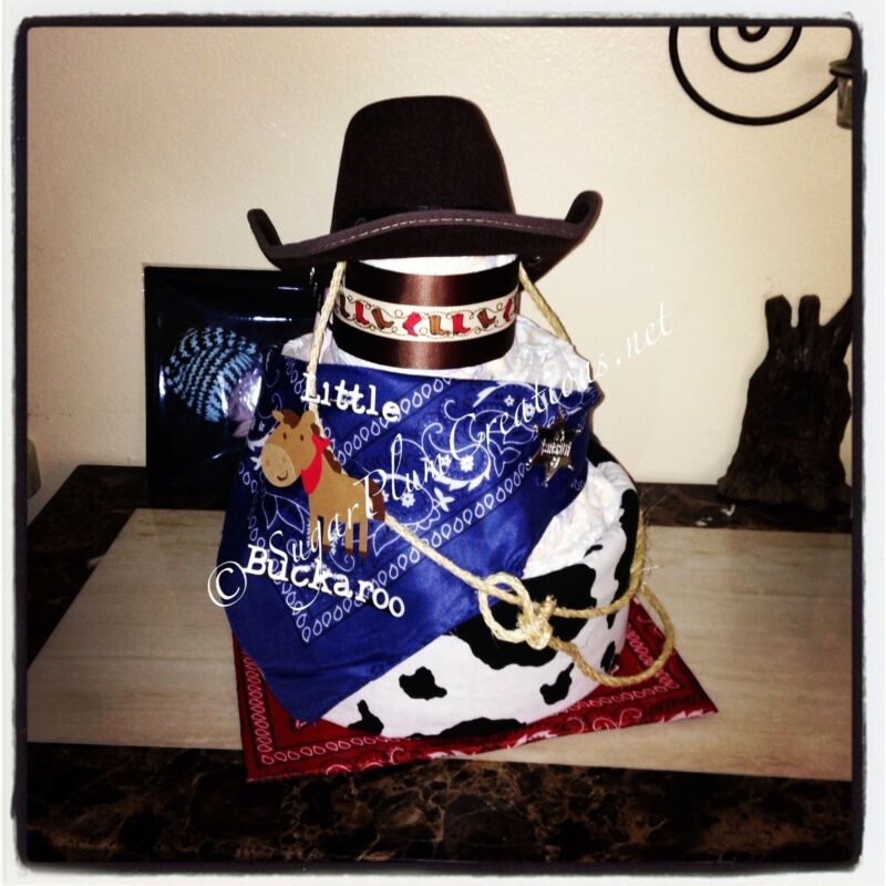Western Cowboy Three Tier Diaper Cake / Baby Shower Or Birthday Decoration!