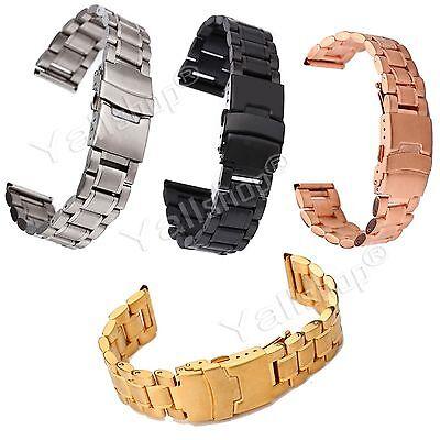 18 20 22 24Mm Stainless Steel Mens Watch Band Strap Double Lock Flip Bracelet